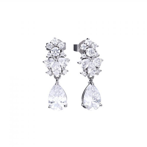 DIAMONFIRE PEAR DROP ZIRCONIA STERLING SILVER EARRINGS