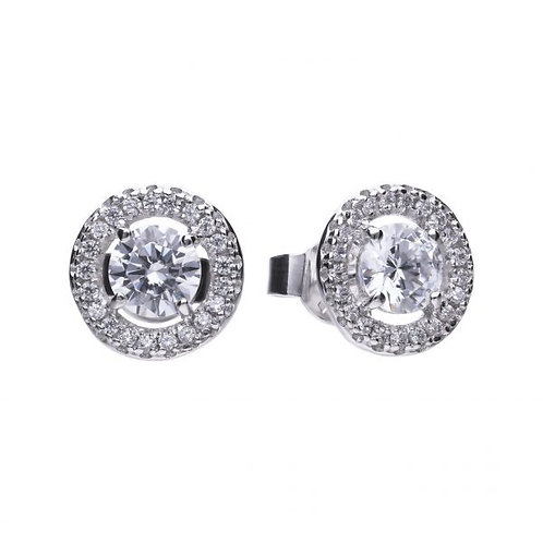 DIAMONFIRE CLUSTER STUD HALO STERLING SILVER EARRINGS