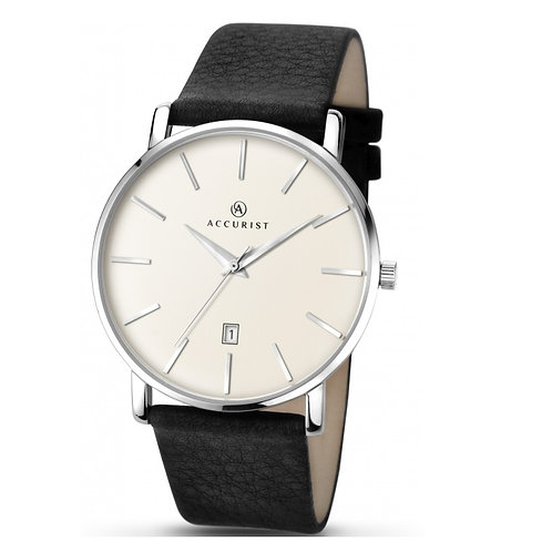 Accurist 7123 Gents Strap Silver Tone Quartz Watch 2704009