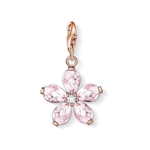 Thomas Sabo 0999 Gold Pink Flower Clef Silver Charm 3310999