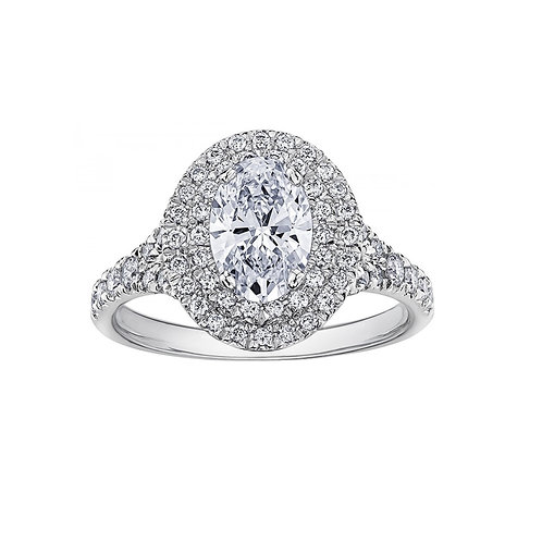 0.80ct Brilliant and Oval Cut 18kt White Gold Diamond Engagement Ring 0112218