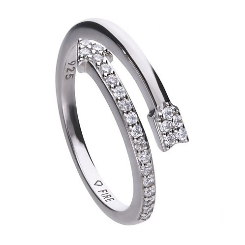 DIAMONFIRE CURVED ARROW STERLING SILVER RING