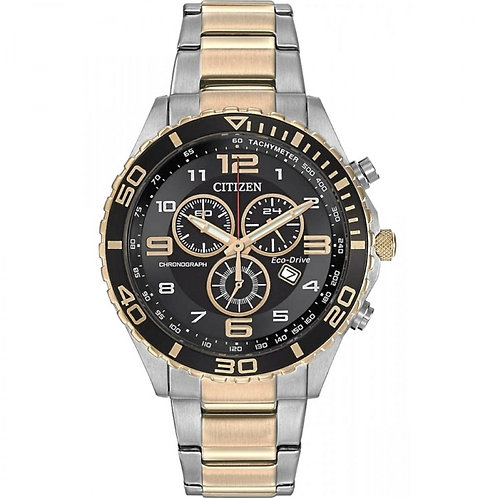 Citizen AT2124-51E Gents Black Dial Eco-Drive Chronograph Watch 2603082