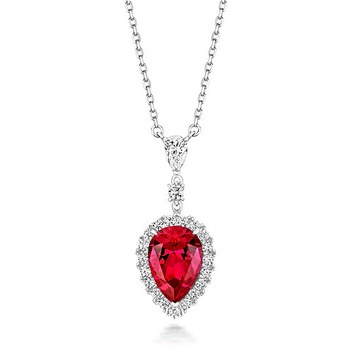 Lapidary LPG0025R Red Pear Fancy CZ Cluster Sterling Silver Necklace 1407454