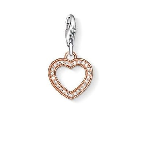 Thomas Sabo 0953 CZ Rose Plate Heart Silver Charm 3310953