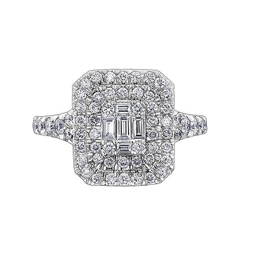 1.00ct Baguette and Brilliant Cut 18kt Gold Diamond Engagement Ring 0112221