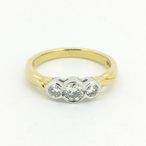 0.60ct Brilliant Cut Rub-over set in 18kt Gold Diamond Engagement Ring 0103046