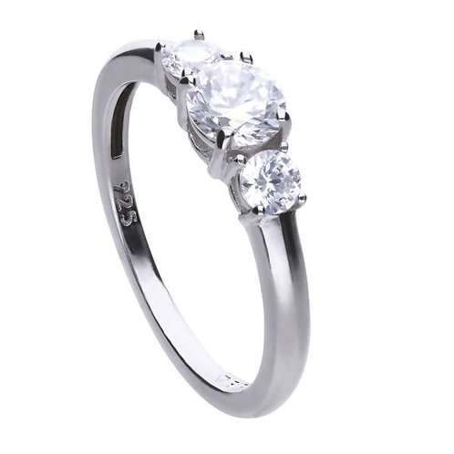 DIAMONFIRE THREE STONE TRILOGY STERLING SILVER RING