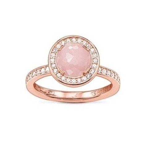 Thomas Sabo TR1971-417-9 PinkQuartz Sterling Silver 18kt Rose Plate Ring 3303225