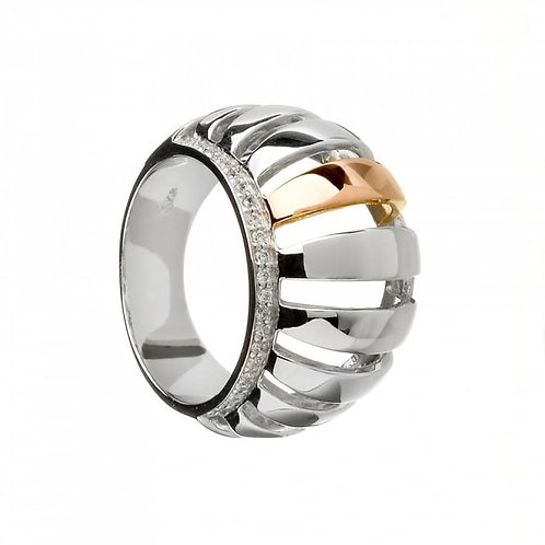 House of Lor H-20003 Sterling Silver and Rose Gold Ring 1403541