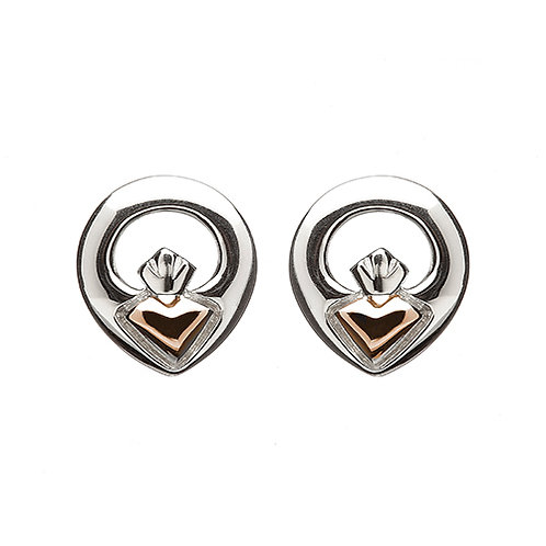 House of Lor H-30014 Sterling Silver & Rose Gold Claddagh Earrings 1402915