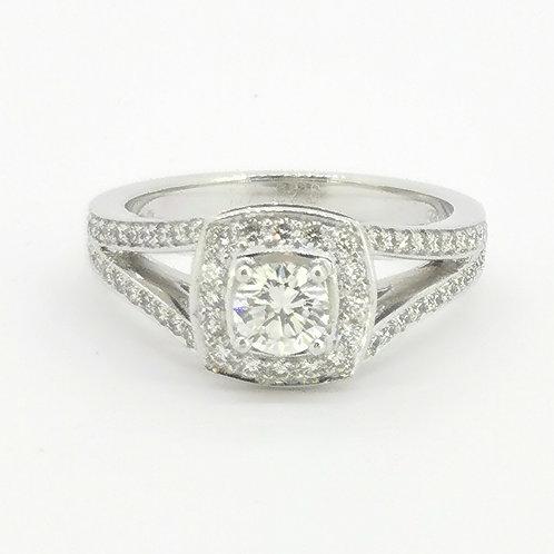 0.81ct Brilliant Cut 18kt White Gold Diamond Halo Engagement Ring 0112085
