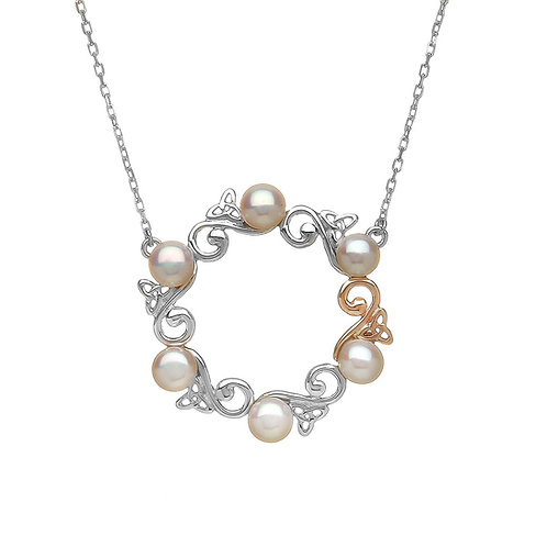House of LorH40039 Sterling Silver and Irish Rose GoldCeltic Pearl Necklace