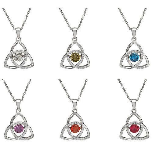 Sterling Silver Dancing Trinity Knot birthstone pendant