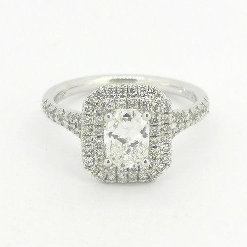 1.16ct 18kt White Gold Radiant Cut Halo Diamond Engagement Ring 0112208