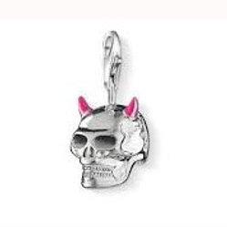 Thomas Sabo 0733 Pink Horned Skull Silver Charm 3310733