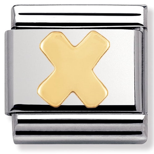 Nomination 030101 24 Classic 18kt Gold and Stainless Steel Letter X Link Charm