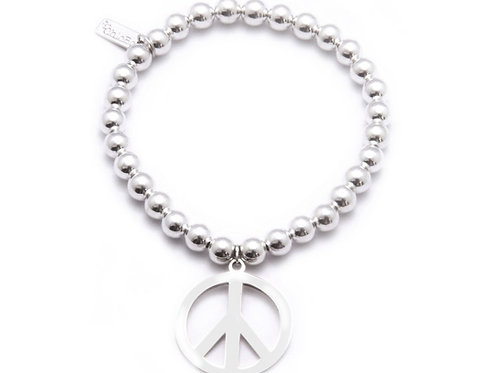 Chlobo SBA2 Small Ball Peace Sterling Silver Bracelet 1405478