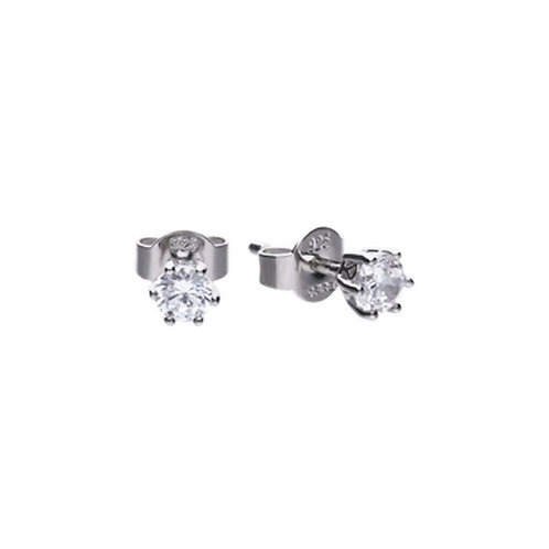 DIAMONFIRE CLAW SET 0.5CT SOLITAIRE STERLING SILVER EARRINGS