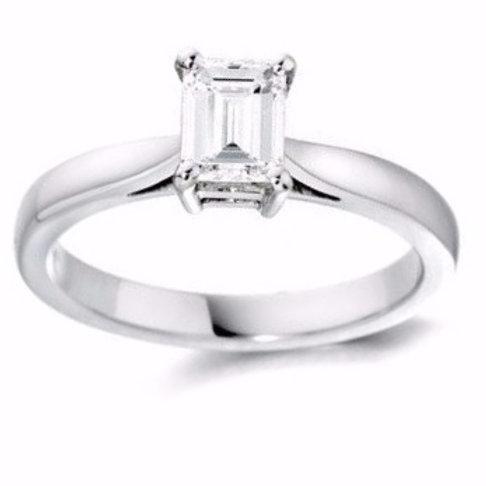 0.69ct Emerald Cut Solitaire Platinum Diamond Engagement Ring 0101100