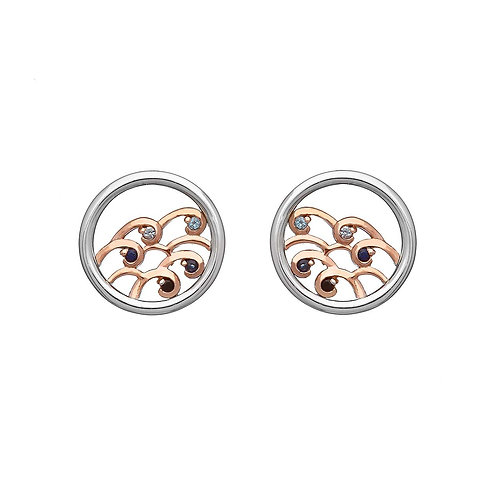 House of Lor Sterling Silver & Rose Gold Sapphire and Topaz NINTH WAVE Earrings