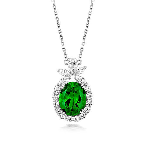Lapidary LPG0027EGreen Fancy CZ ClusterSterling Silver Necklace 1407457