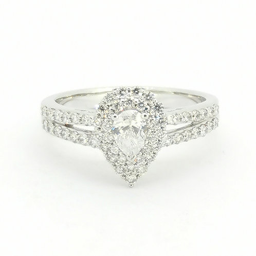 0.80ct Pear Cut 18kt White Gold Diamond Engagement Ring 0112273