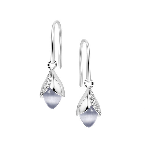 Magnolia hook cat's eye stone and cubic zirconia earrings 4502009