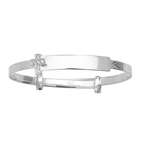 Sterling Silver Expander  Baby Bangle with CZ Cross G4031 / 1414084