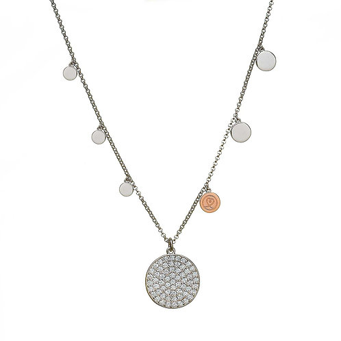 House of LorH40021 Sterling Silver & Irish Rose Gold Multi circle disc Necklace