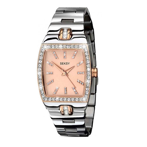 Seksy 2080 Ladies Two Tone Rose Plate Quartz Watch 2901656