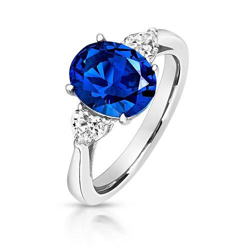 Lapidary LRG0025S CZ 3 Stone Blue OvelSetSterling SilverRing 1403628