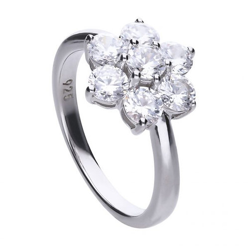 DIAMONFIRE LARGE FLORAL SHAPE STERLING SILVER RING