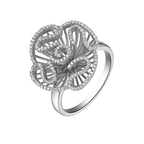 Cascade stud ring sterling silver with rhodium 4503010