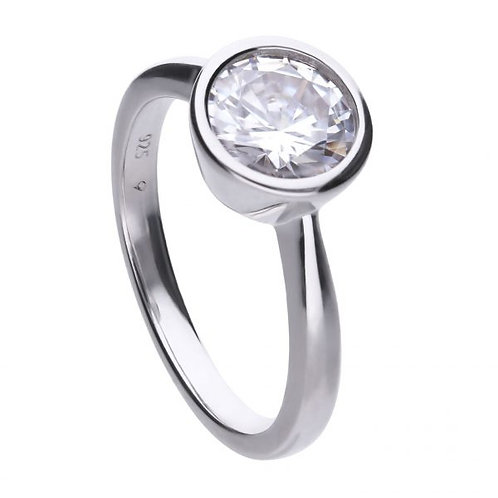 DIAMONFIRE BEZEL SET 2CT SOLITAIRE STERLING SILVER RING