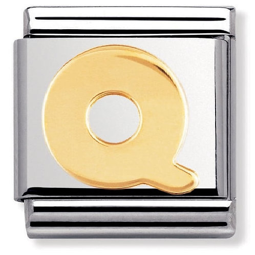 Nomination 030101 17 Classic 18kt Gold and Stainless Steel Letter Q Link Charm