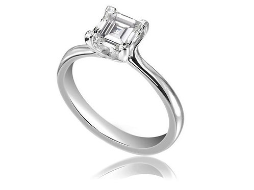 0.73ct Asher Cut Platinum Solitaire Diamond Engagement Ring 0101107