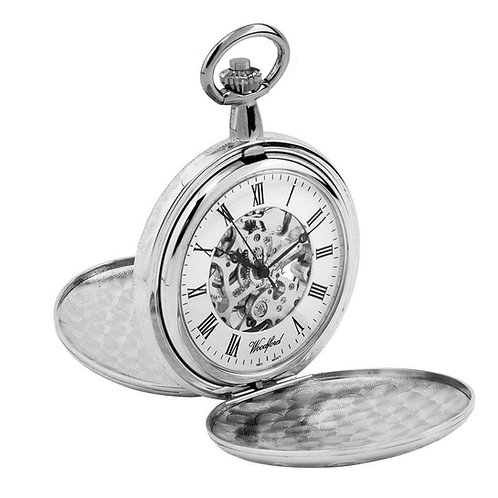 Chrome Full Hunter Skeleton Mechanical Pocket Watch with Chain 2905041