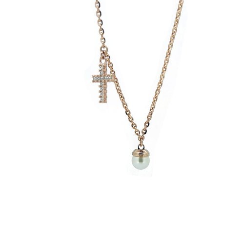 Rebecca BAMKRR04 Syn pearl rose plate necklace 8804201
