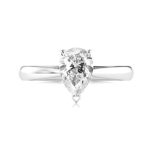 1.00ct Pear Cut Platinum Solitaire Diamond Engagement Ring 0101119