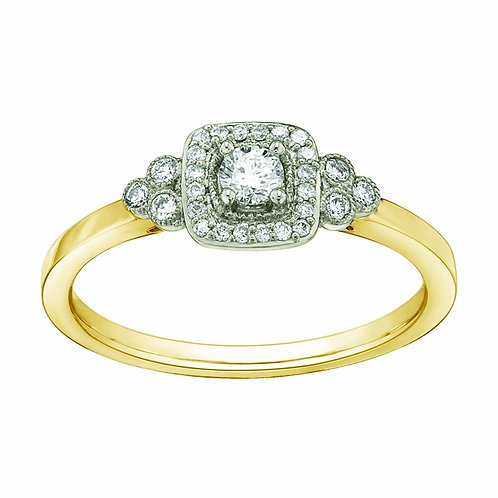 0.27ct Diamond Halo 9kt Yellow Gold Engagement Ring 0112251