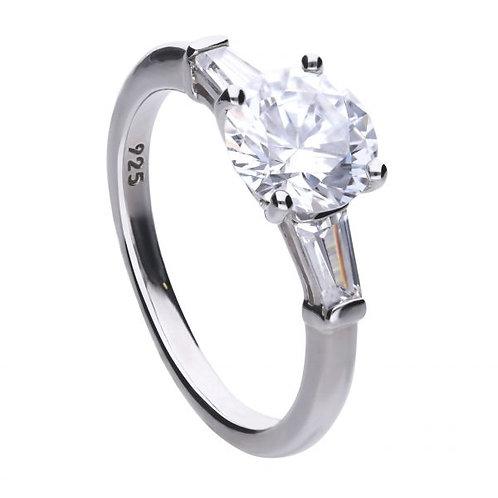 DIAMONFIRE BAGUETTE TRILOGY STERLING SILVER RING