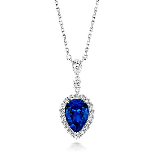 Lapidary LPG0025S BluePearFancy CZ ClusterSterling Silver Necklace 1407455