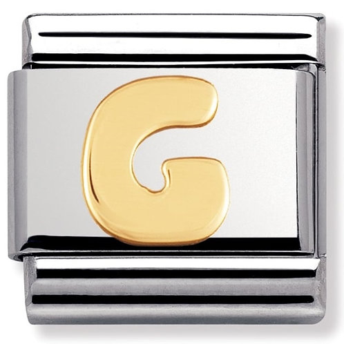 Nomination 030101 07 Classic 18kt Gold and Stainless Steel Letter G Link Charm