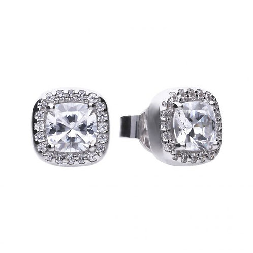 DIAMONFIRE SQUARE SOLITAIRE AND PAVE STUD HALO STERLING SILVER EARRINGS