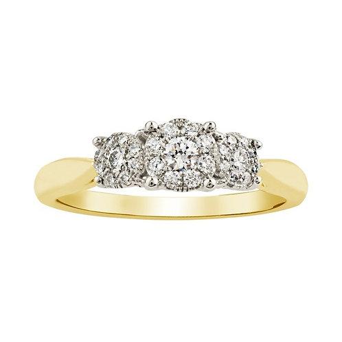 0.26ct Diamond Halo 9kt Yellow Gold Engagement Ring 0112088