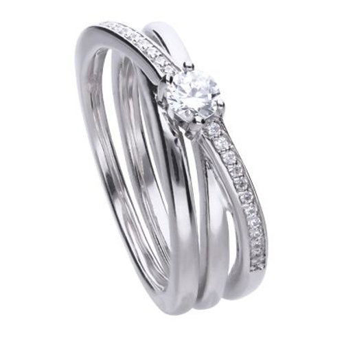 DIAMONFIRE TRINITY BAND STERLING SILVER RING