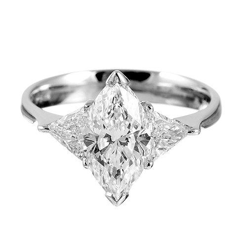 2.48ct D Colour Platinum Marquise Diamond Engagement Ring 0103114
