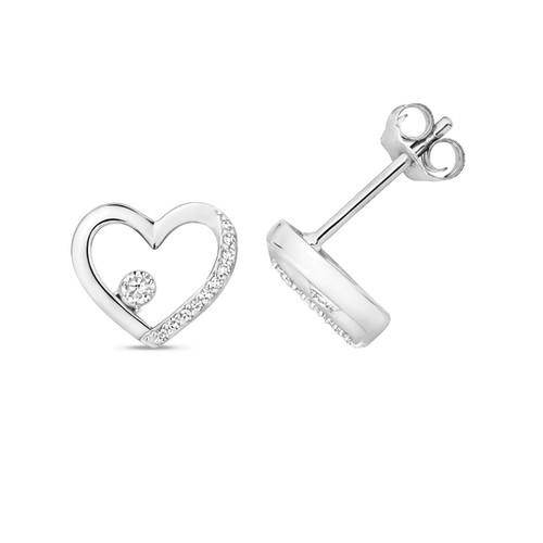189e18c1b 9kt Gold and Diamond Heart Earring Studs MCWED345