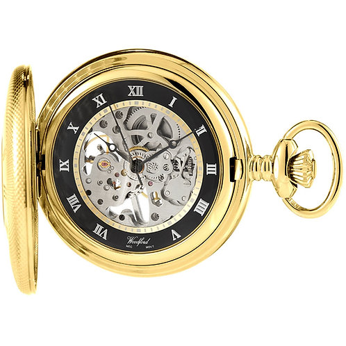 Gold Plate Half Hunter Skeleton Mechanical Pocket Watch with Chain 2905053